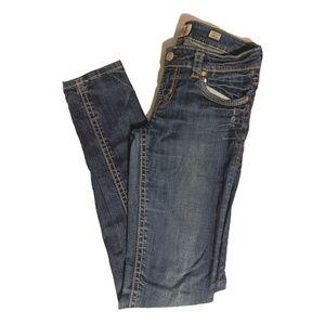 MEK Buckle Jeans • Dark Distressed Skinny Jeans